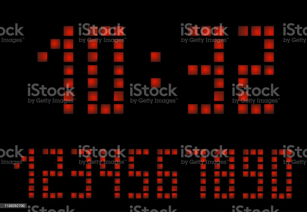 Digital Apocalypse clock. Alarm clock letters. Numbers set for a...