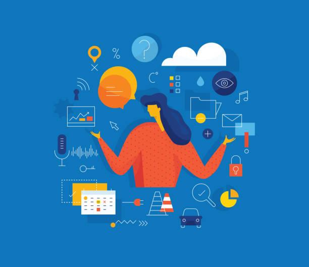 digitale assistenten vorlage - assistent stock-grafiken, -clipart, -cartoons und -symbole