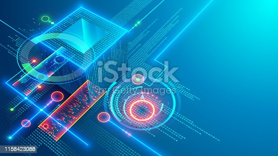 Digital background. Cube or box consists matrix of digits. Block chain of abstract finance data, business graphic. Blockchain fintech technology and mining cryptocurrency conceptual internet banner.