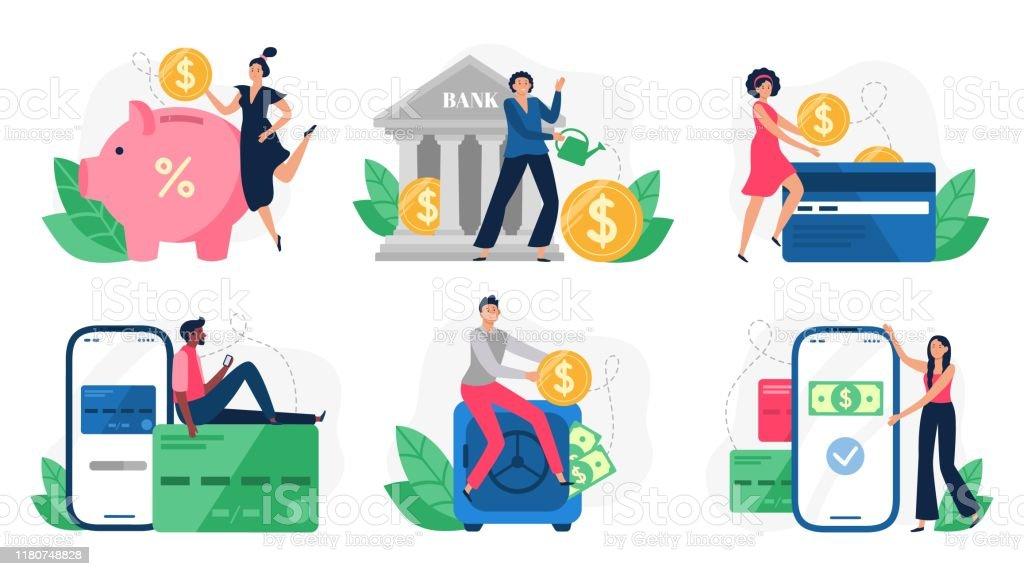 數位銀行。銀行交易、信用卡支付和互聯網支付。線上支付向量插圖集 - 免版稅互聯網圖庫向量圖形