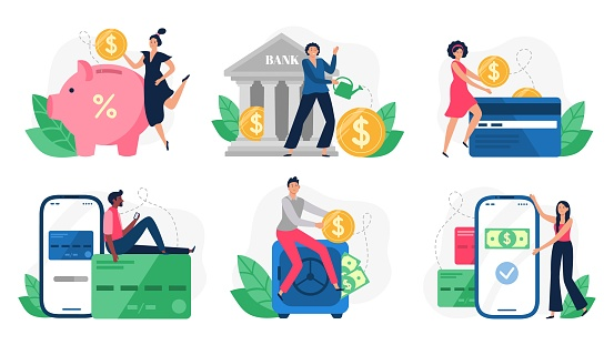Digital Banking Bank Transactions Credit Card Payment And Internet Payments Online Pay Vector Illustration Set Stock Illustration - Download Image Now