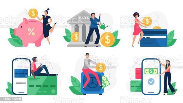 數位銀行銀行交易信用卡支付和互聯網支付線上支付向量插圖集向量圖形及更多互聯網圖片