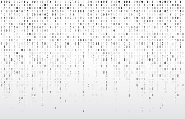 Digital binary code. Computer matrix data falling numbers, coding typography and codes stream gray vector background illustration Digital binary code. Computer matrix data falling numbers, coding typography and codes stream gray. Cyberspace stream matrix monitor abstract coding or coded vector background illustration coding stock illustrations