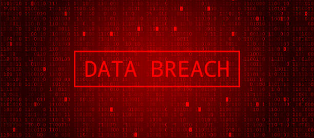 Digital Binary Code on Dark Red BG. Data Breach Digital Binary Code on Dark Red Background. Data Breach hacker stock illustrations