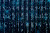 Digital binary data and streaming binary code background.
