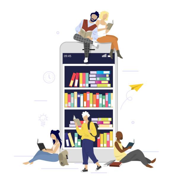 stockillustraties, clipart, cartoons en iconen met digitale boeken, vector vlakke stijlontwerpillustratie - e learning