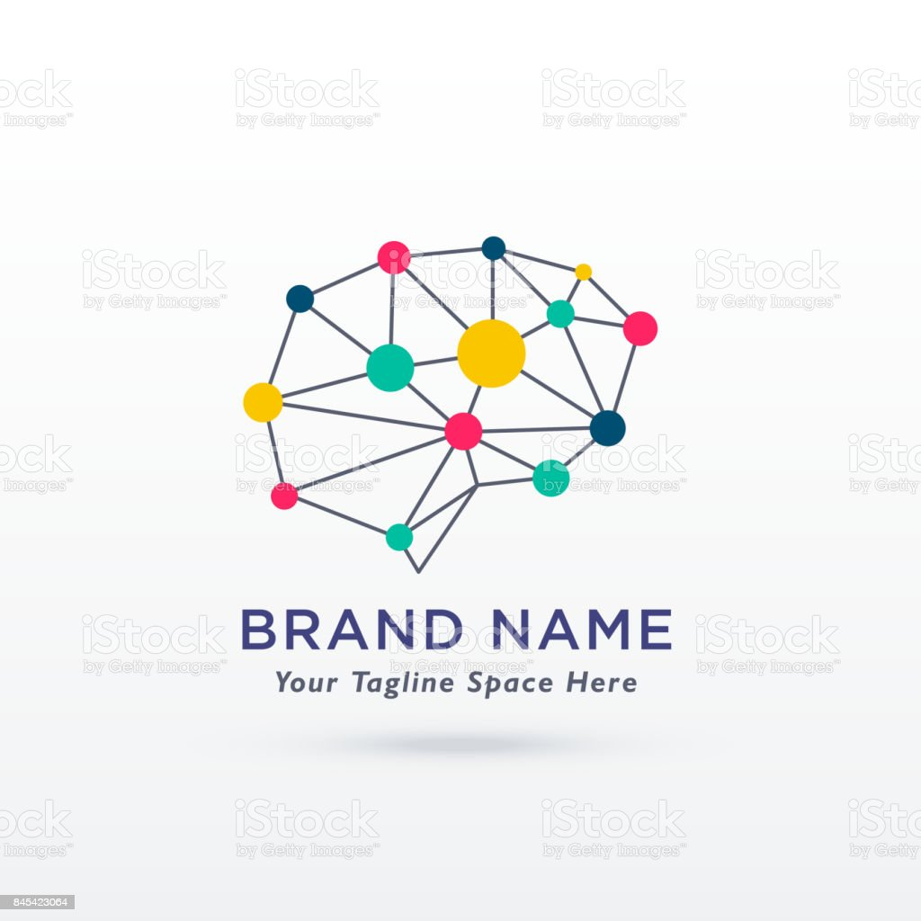 digital brain concept design logo vector vector art illustration