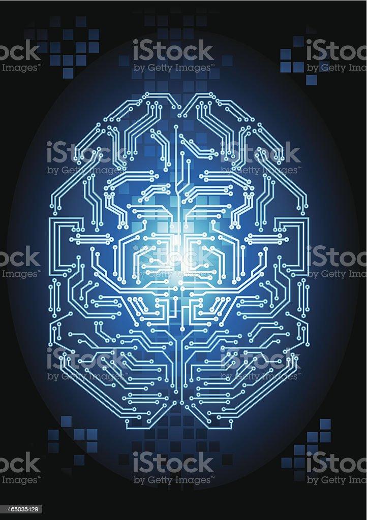 Digital Brain in Vector file vector art illustration