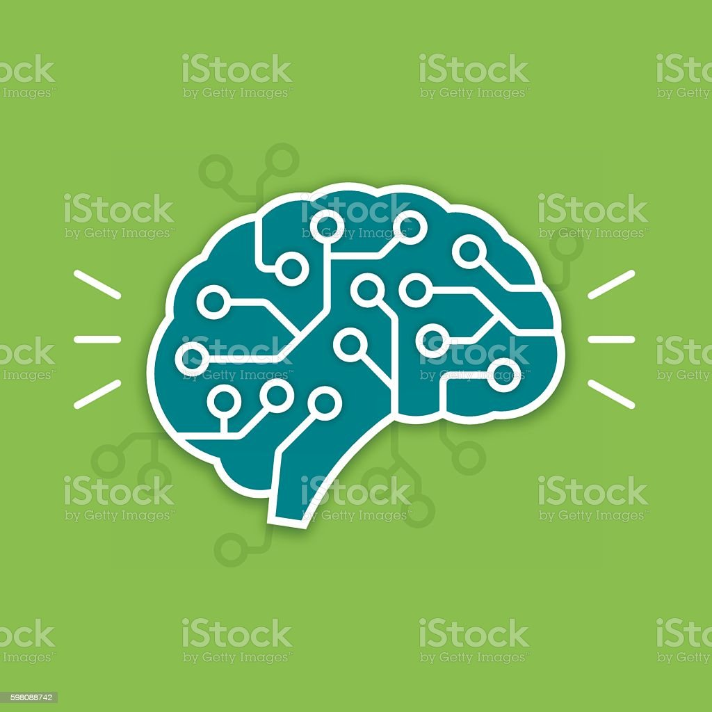 Digital Brain vector art illustration