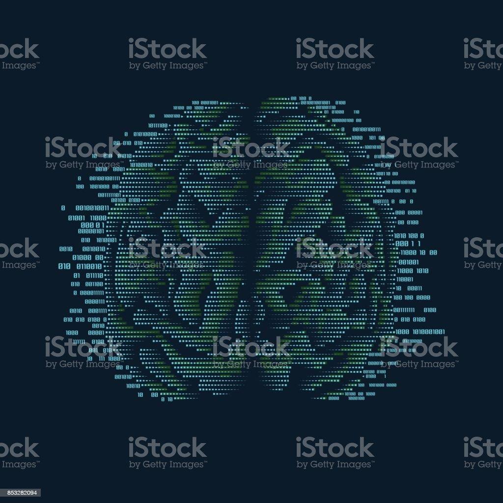 digital brain vector art illustration