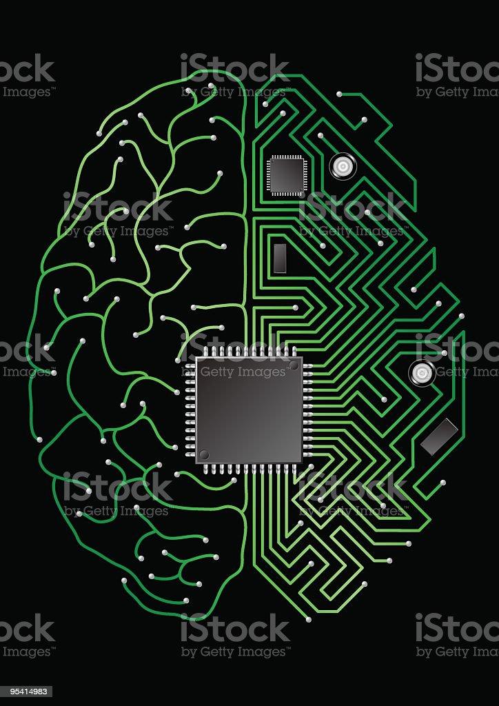 Digitale Gehirn Lizenzfreies digitale gehirn stock vektor art und mehr bilder von betrachtung