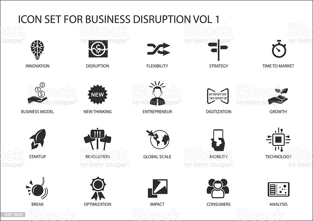 Digital business disruption icon set vector art illustration