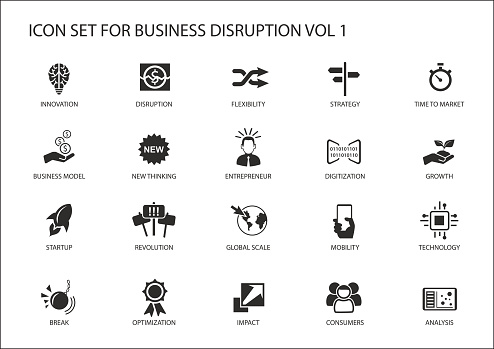 Digital Business Disruption Icon Set Stock Illustration - Download Image Now