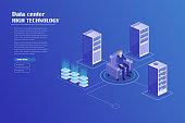 Digital marketing management, receipt of statistics data, mobile bank, financial transaction, business planning. Server, businessmans in data center room, working group isometric vector.