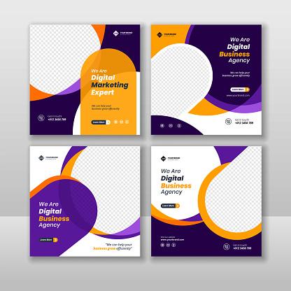 Digital business marketing social media post and web banner