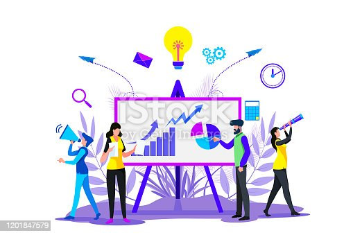 istock Digital business strategies, Creating business strategy plan, generating report. Growth chart 1201847579