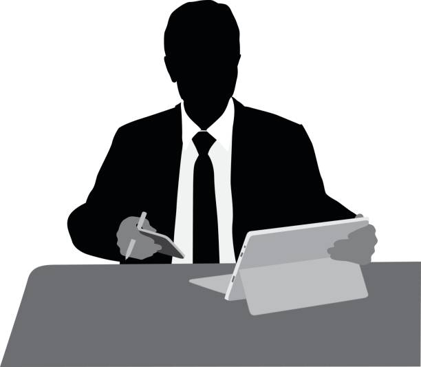 Digital Business Silhouette illustration of a businessman working on his cellphone and tablet budget silhouettes stock illustrations