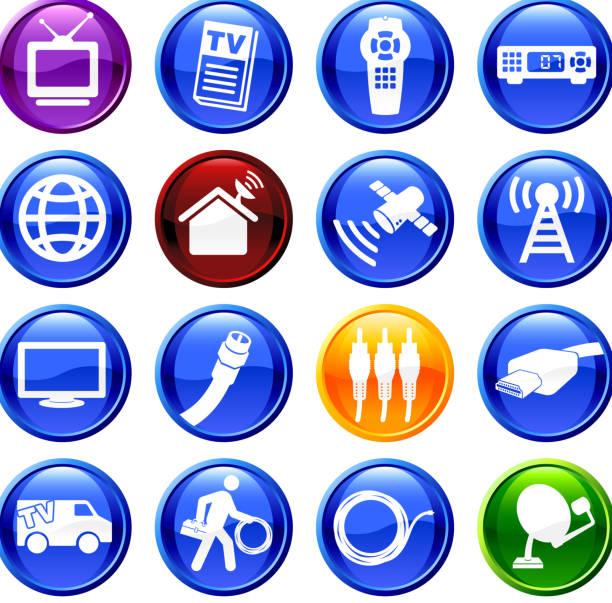 digital cable satellite television digital cable / satellite television  sixteen icon set  pattern stock illustrations