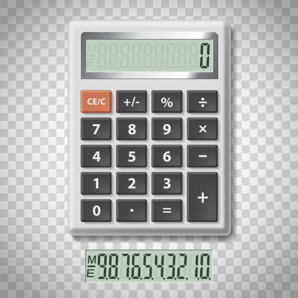 illustrazioni stock, clip art, cartoni animati e icone di tendenza di digital calculator with numbers - calcolatrice