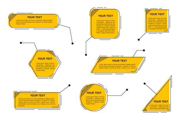 ilustraciones, imágenes clip art, dibujos animados e iconos de stock de títulos de llamadas digitales. plantilla de llamadas futuristas, cuadros de marco de texto de línea digital y conjunto de etiquetas de llamada. - social media