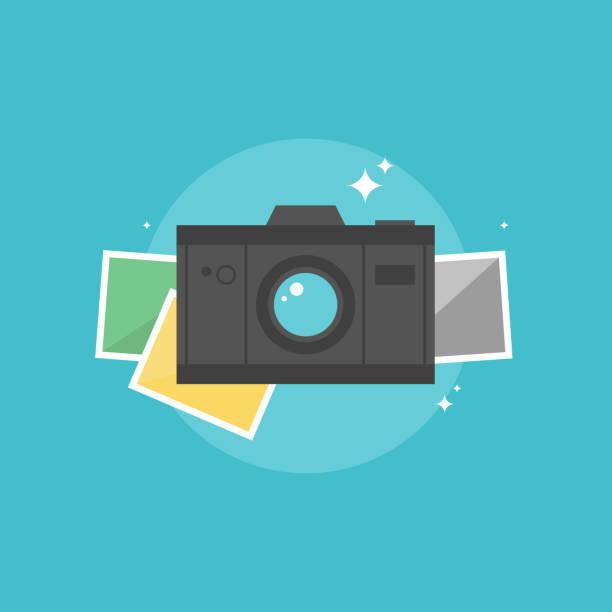 digital camera flat icon illustration - photo booth stock illustrations, clip art, cartoons, & icons