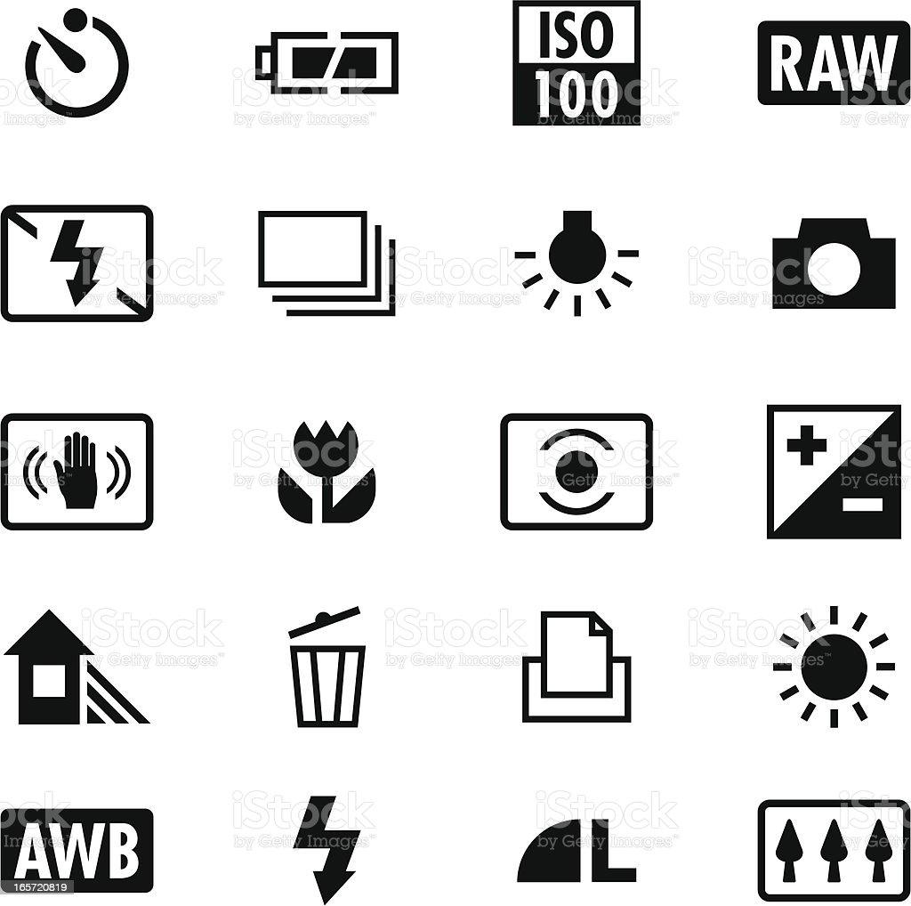 Digital Camera Settings Icons royalty-free stock vector art