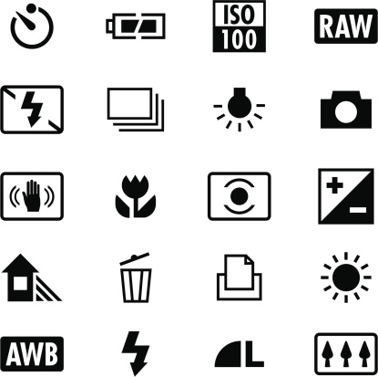 Digital Camera Settings Icons Stock Illustration