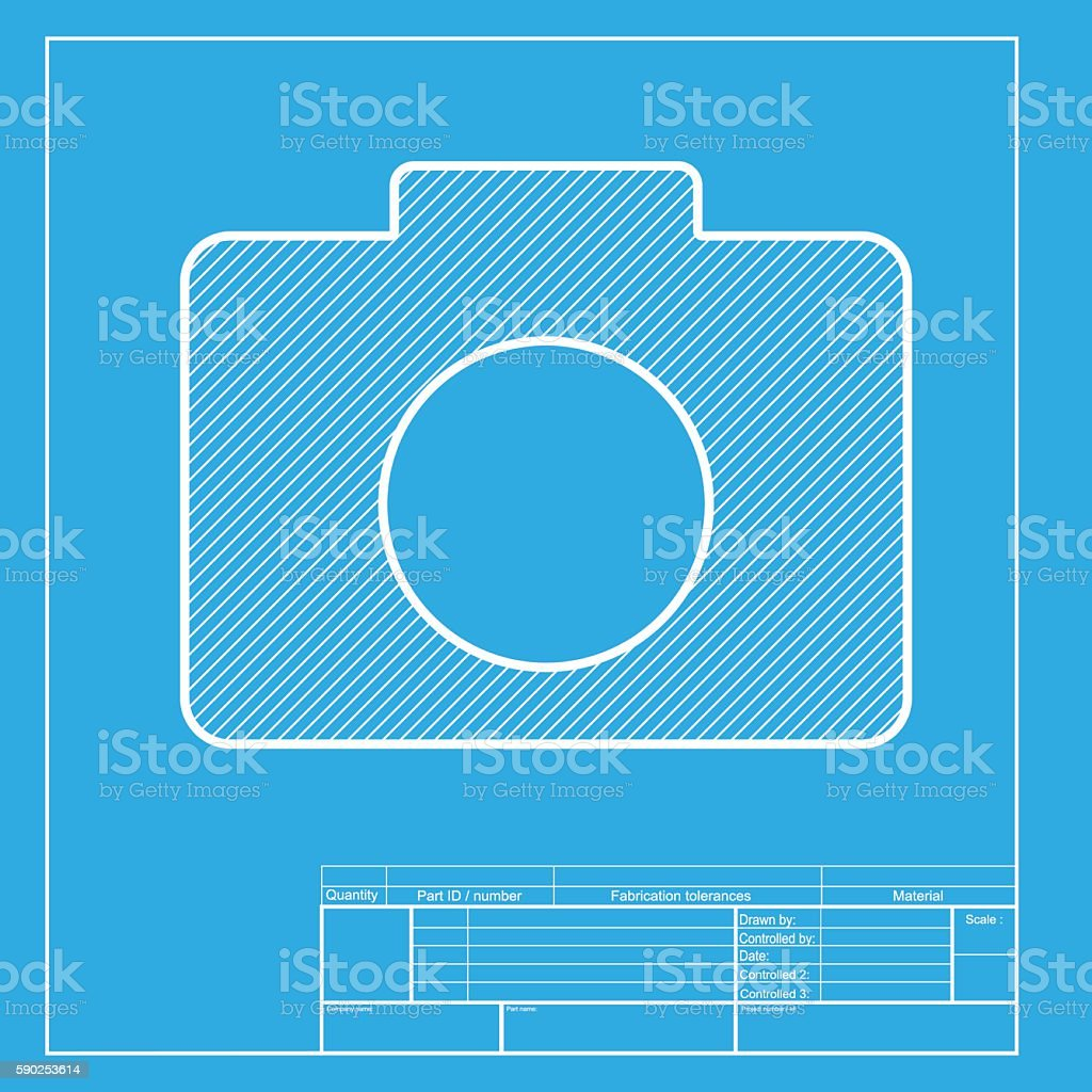 digital camera sign white section of icon on blueprint template