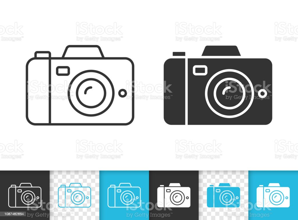 Icône de vecteur numérique caméra simple ligne noire - clipart vectoriel de Appareil photo libre de droits