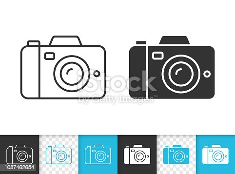 Digital camera black linear and silhouette icons. Thin line sign of photography. Photo outline pictogram isolated on white color transparent background. Vector Icon shape. Camera simple symbol closeup