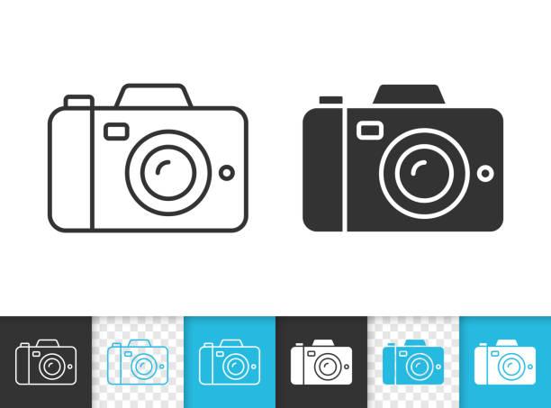 디지털 카메라 간단한 검은 선 벡터 아이콘 - 사진 테마 stock illustrations