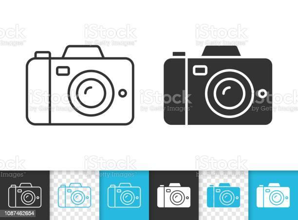Icône De Vecteur Numérique Caméra Simple Ligne Noire Vecteurs libres de droits et plus d'images vectorielles de Appareil photo