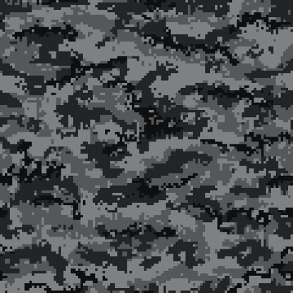 Digital camouflage seamless pattern, black and gray. Vector