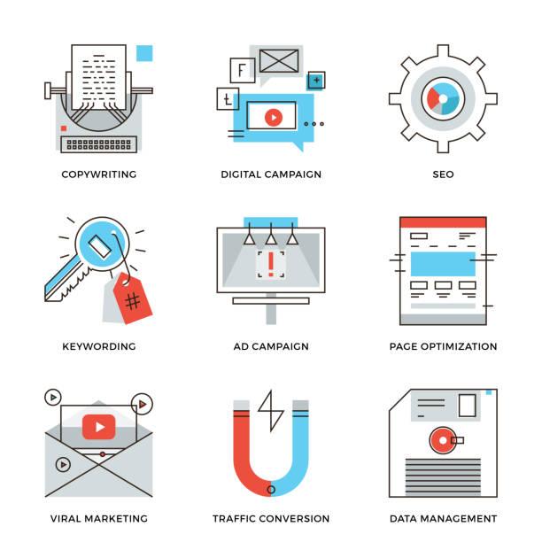 digitale kampagne entwicklung zeile icons set - lesestrategien stock-grafiken, -clipart, -cartoons und -symbole