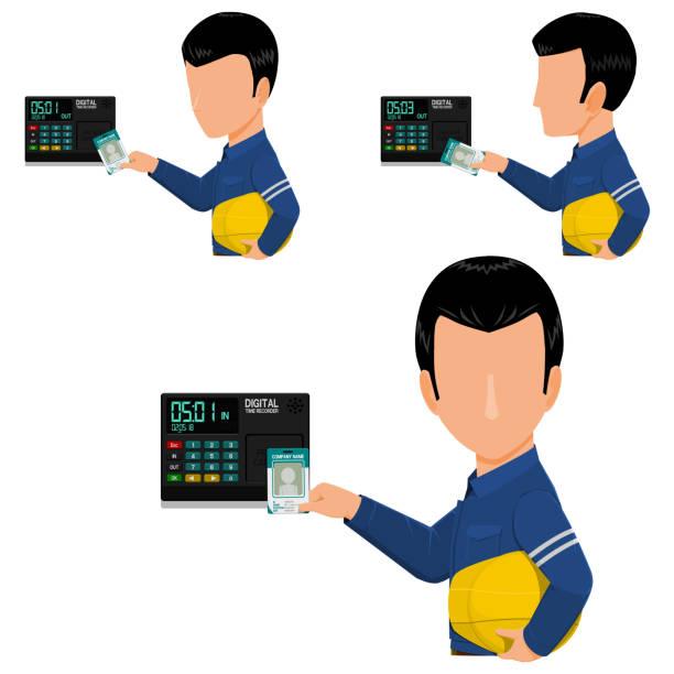 stockillustraties, clipart, cartoons en iconen met digitale kaart recorder-werknemer-clock time-out - punch