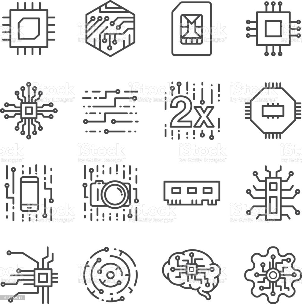 Digital chip processor icons set vector art illustration