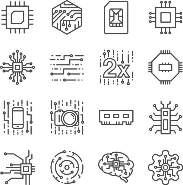 dijital çip işlemci icons set - bilgisayar yongası stock illustrations