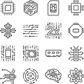 Digital chip processor icons set