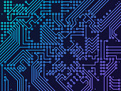 Digital circuit board background.