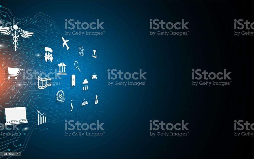 Digitaler Schaltungen Mit Iot Icon Designspeed Verbindung Konzept ...