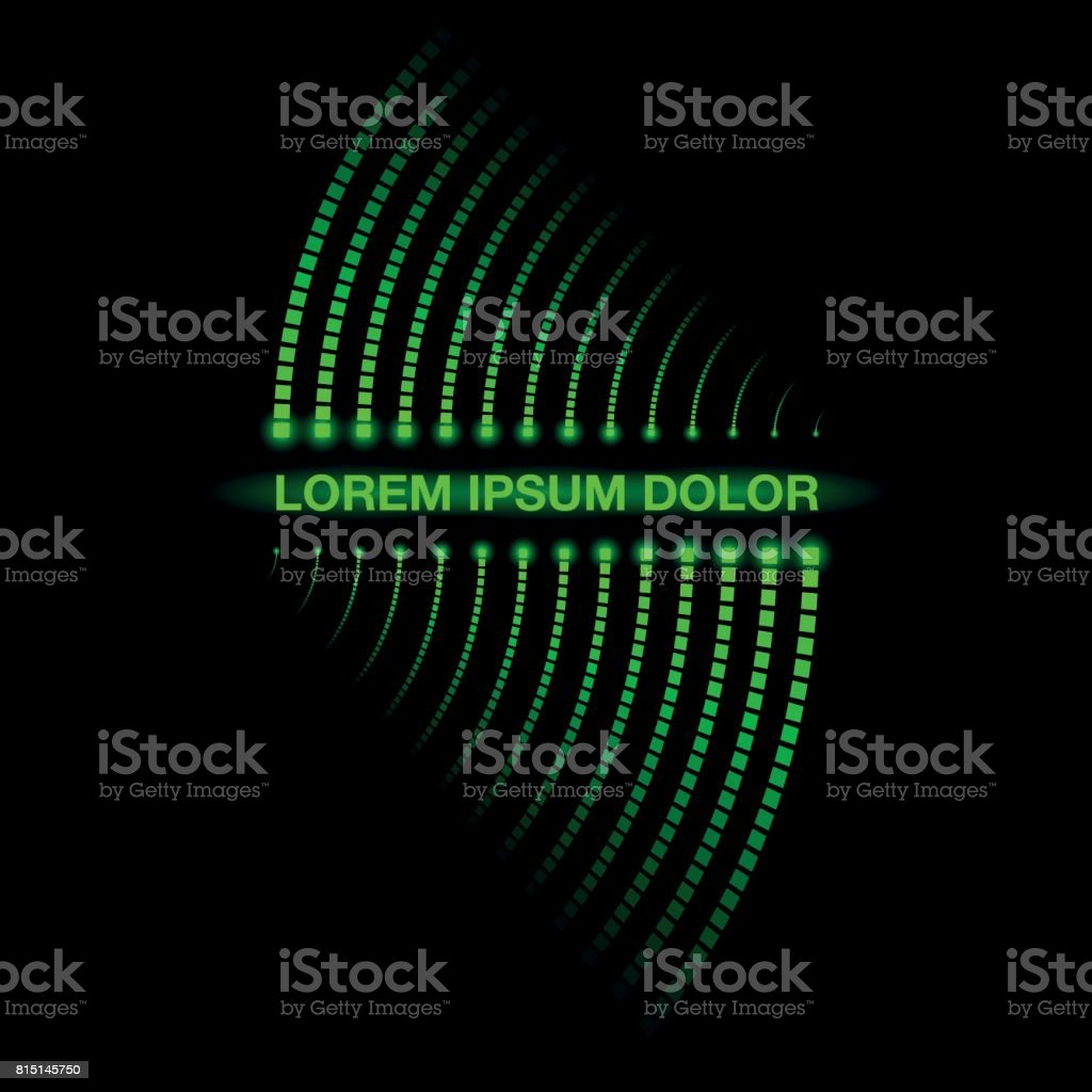 Digital circuit track neon banner. Twisted glowing dots on a black background. Residual trace of luminous dots. vector art illustration