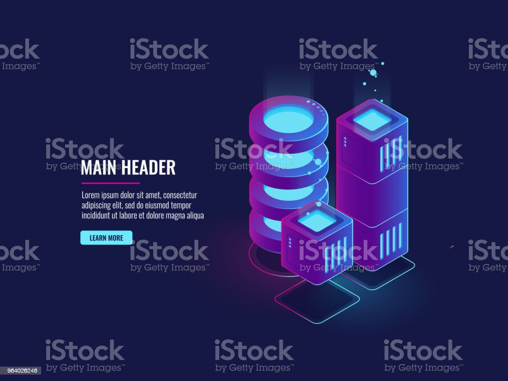 Digital city concept, server room, big data center and database icons, cloud storage, dark neon isometric - Royalty-free Accessibility stock vector