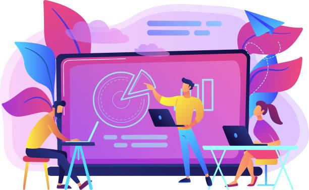 digitales klassenzimmer-konzept-vektor-illustration - hochschulgetränke stock-grafiken, -clipart, -cartoons und -symbole