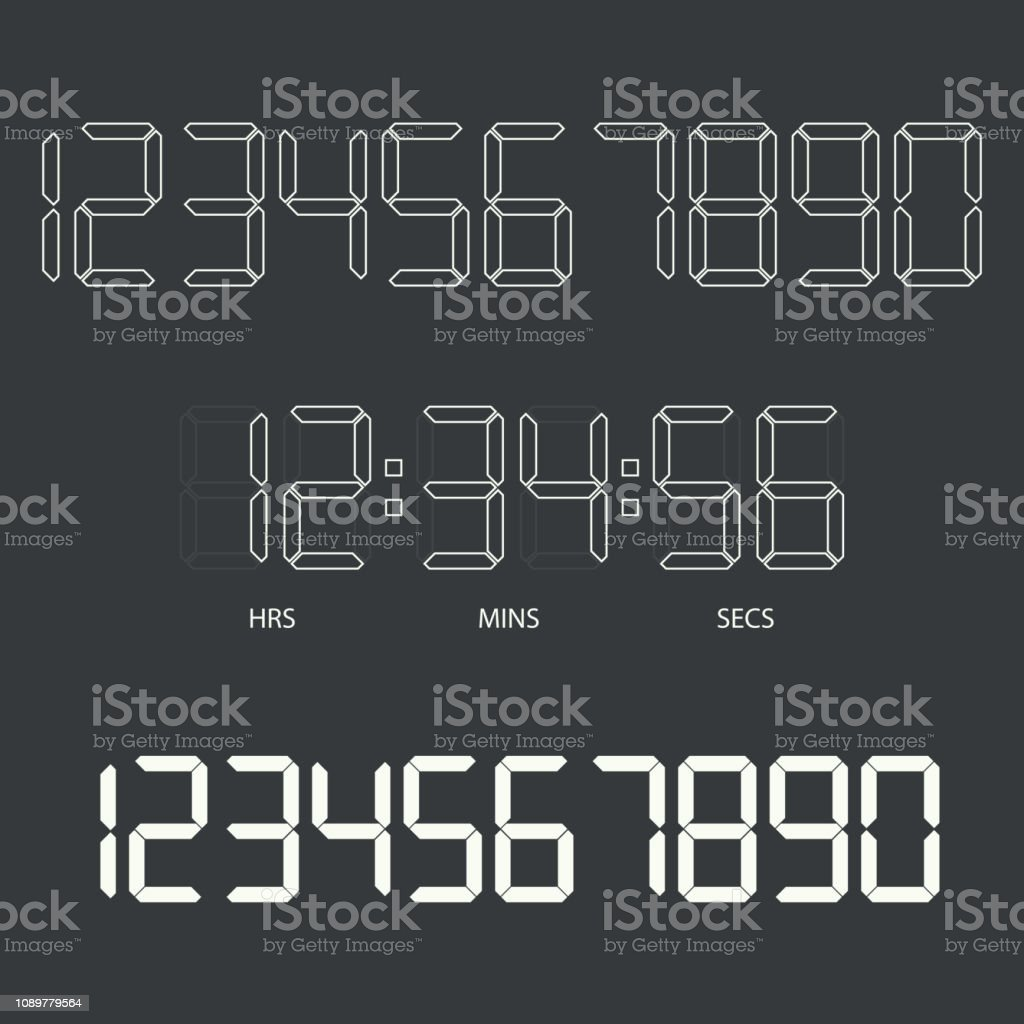 Digital Clock And Numbers Stock Illustration - Download