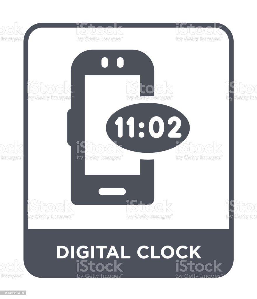 Digital Clock Icon Vector On White Background Digital Clock Trendy