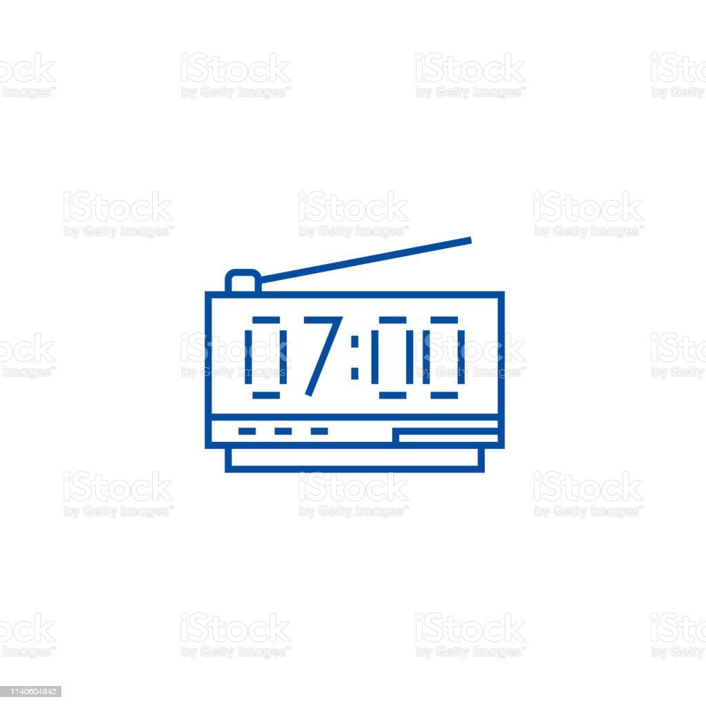 Digital clock line concept icon. Digital clock flat vector website...