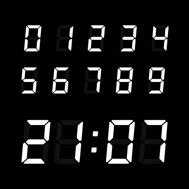 Digital clock number set. Digital clock number set. Electronic figures for interface design. Vector electronic numbers isolated on black background. digital display stock illustrations