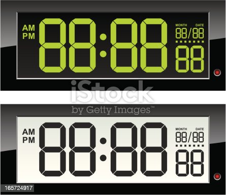 Digital clock LCD and LED set. Just remove blocks to set time and date you need. Good for animation creating.