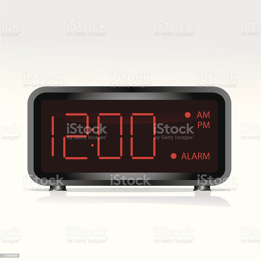 Digital clock vector art illustration