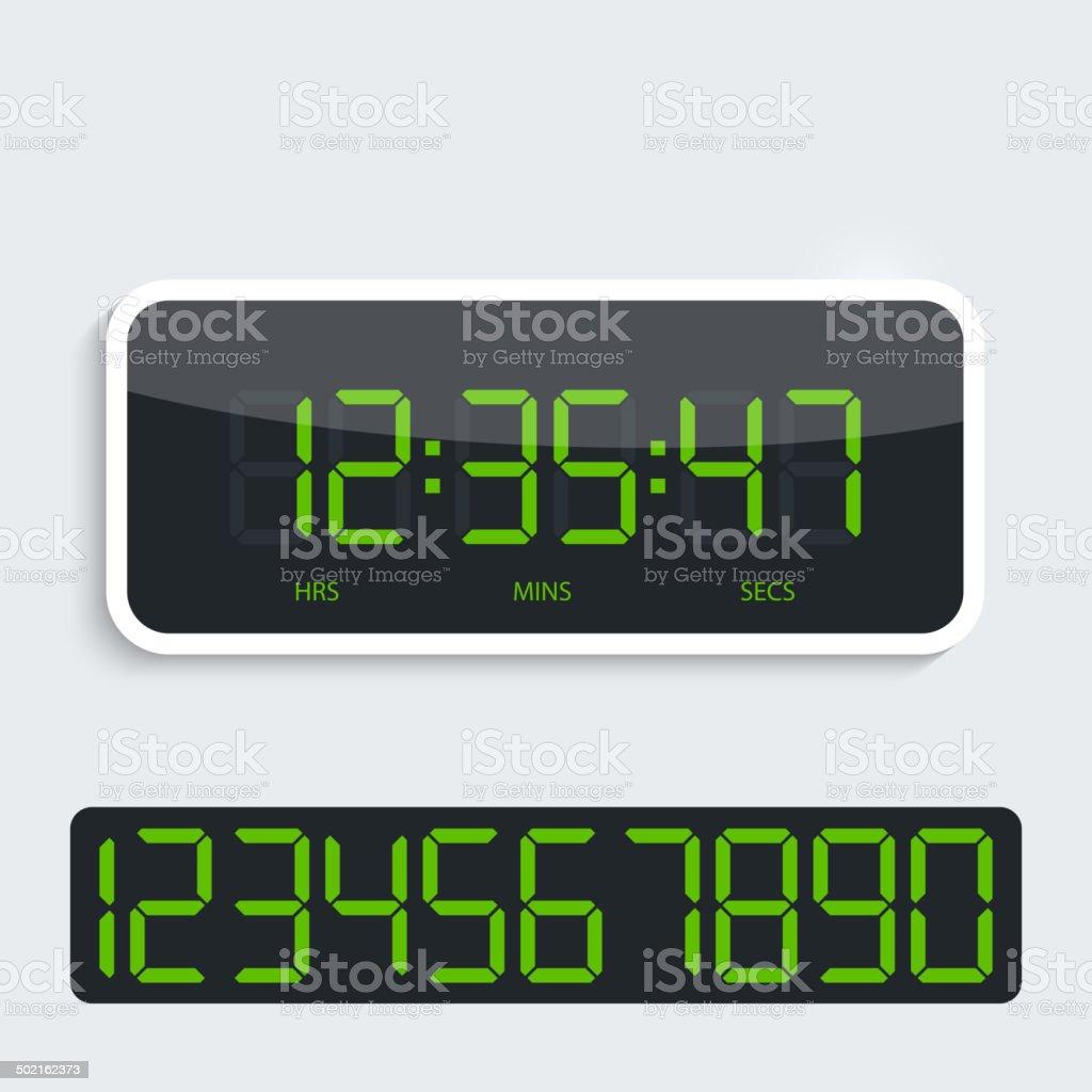 Digital clock with shiny plastic panel. additional figures vector art illustration